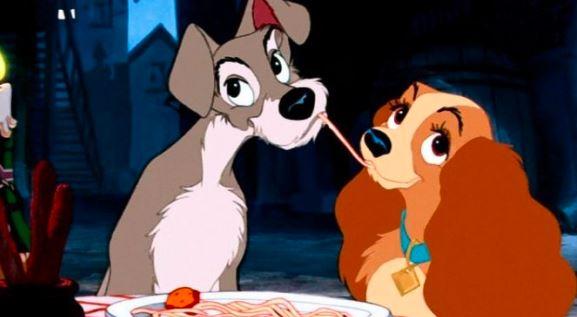 Cena do filme de cachorro a dama e o vagabundo